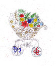 Illustration sketching stroller to transport infants decorated with flowers