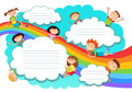 Illustration of the sky boys and girls playing on the rainbow and clouds
