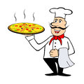 Illustration smiling chef holding pizza isolated white Stock Image