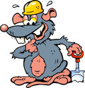 illustration of an Smiling Rat holding a Spade Royalty Free Stock Photo