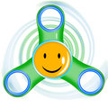 Illustration with smiling spinner-