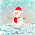 Illustration of snowman, on a background of snow Stock Photography