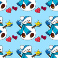 stock image of  Illustration of a snowman. Christmas snowmen. Seamless pattern.