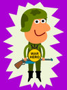 Illustration soldier wearing medal war hero words Royalty Free Stock Photos