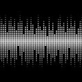 Illustration of sound waves. Vector monochrome seamless pattern