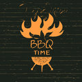 Illustration with sparks of fire for bbq time print restaurant vector lettering hand drawn logo barbecue party menu Royalty Free Stock Image
