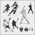 Illustration of sports players. Football, baseball and lacrosse. Royalty Free Stock Photo