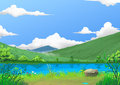 Illustration: Spring: The Beautiful River Side by the Mountain with Green Fresh Grass and Flowers, after Raining.