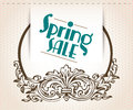 Illustration with spring sale sign with ornament Royalty Free Stock Image