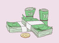 Illustration of stacks of money and lucky gold coin in color