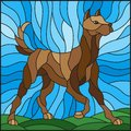 Stained glass illustration abstract in brown dog on a background of meadows and sky