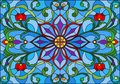 Stained glass illustration with abstract flowers, leaves and curls on blue background, horizontal orientation