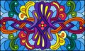 Stained glass illustration with abstract swirls,flowers and leaves on a blue background,horizontal orientation
