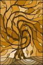 Stained glass illustration with autumn willow tree on sky background ,tone brown,sepia Royalty Free Stock Photo