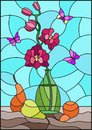Stained glass illustration  with bouquets of pink orchid   in a green vase,butterflies  and pears on table on blue background Royalty Free Stock Photo