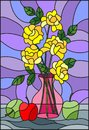 Stained glass illustration  with bouquets of yellow roses flowers in a pink vase Royalty Free Stock Photo