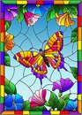 Stained glass illustration with a bright butterfly on a background of flowers and sky in a bright frame Royalty Free Stock Photo