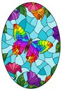 Stained glass illustration with  a bright butterfly on a background of flowers and sky, oval image in a bright frame Royalty Free Stock Photo