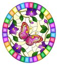 Stained glass illustration with  a bright pink  butterfly on a background of purple flowers  , oval image in bright frame Royalty Free Stock Photo