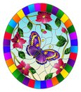 Stained glass illustration with  a bright purple  butterfly on a background of pink flowers and sky , oval image in bright frame Royalty Free Stock Photo