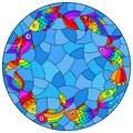 Stained glass illustration with  bright rainbow abstract fish on a blue background, round image Royalty Free Stock Photo
