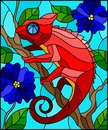 Stained glass illustration with bright red chameleon on plant branches background with leaves and blue flowers on blue background Royalty Free Stock Photo
