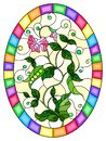 Stained glass illustration with Bush green peas, leaves, shoots, pods and flowers on a light background, oval picture in bright fr Royalty Free Stock Photo
