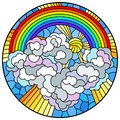 Stained glass illustration with celestial landscape, sun and clouds on rainbow background, round image