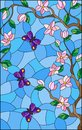 Stained glass illustration with cherry blossom tree and bright butterflies on blue sky background Royalty Free Stock Photo
