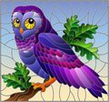 Stained glass illustration with fabulous colourful owl sitting on a tree branch against the sky