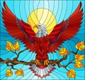 Stained glass illustration with fabulous red eagle sitting on a tree branch against the sky
