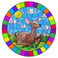Stained glass illustration with a fawn on the background of green meadows and cloudy sky, round image in bright frame