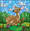 Stained glass illustration with a fawn on the background of green meadows, flowers and cloudy sky