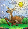 Stained glass illustration with a fawn on the background of green meadows, mountains and cloudy sky