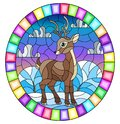 Stained glass illustration with a fawn on the background of winter landscape and cloudy sky, oval image in bright frame Royalty Free Stock Photo