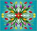Stained glass illustration with  floral arrangement, colorful tulips on a blue background Royalty Free Stock Photo