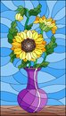 Stained glass illustration with floral still life, a bouquet of sunflowers in a purple vase on a blue background Royalty Free Stock Photo
