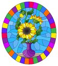 Stained glass illustration with floral still life, a bouquet of sunflowers in a purple vase on a blue background,, oval image in a Royalty Free Stock Photo