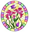 Stained glass illustration with flower of pink irises and purple butterflies on a yellow background in a bright frame,oval imag