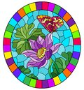 Illustration in stained glass style with  flowers, buds and leaves of a purple Lotus and a butterfly on a blue sky background, ova Royalty Free Stock Photo