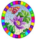 Stained glass illustration with  flowers, buds and leaves of a purple Lotus and a butterfly on a blue sky background, oval image i Royalty Free Stock Photo