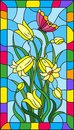 Stained glass illustration with leaves and bells flowers, yellow flowers and butterfly on sky background in a bright frame Royalty Free Stock Photo