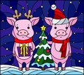 Stained glass illustration with a pair of cartoon pigs and a Christmas tree on a background of snow and starry sky Royalty Free Stock Photo