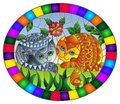 Stained glass illustration with a pair of cute cats on a background of meadows, bright flowers and sky, oval image in bright fram