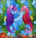 Stained glass illustration with a pair of fish seahorse  on the background of water and algae Royalty Free Stock Photo