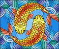 Stained glass illustration with a pair of gold fish on water background Royalty Free Stock Photo