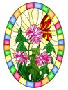 Stained glass illustration with pink flowers and red butterfly on a yellow background,oval image in bright frame Royalty Free Stock Photo