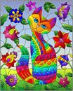Stained glass illustration with a rainbow cute cat on a background of meadows, bright flowers and sky