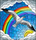 Stained glass illustration with a Seagull on the background of sky, sun , clouds and rainbow