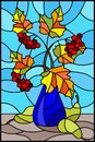 Stained glass illustration with still life, Bouquet of branches of viburnum in ceramic vase and yellow pears on a blue background Royalty Free Stock Photo